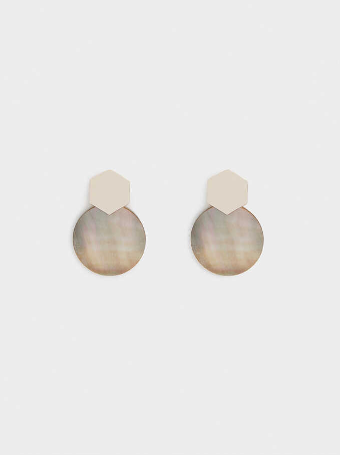 Short Rose Gold Earrings With Shell, Orange, hi-res
