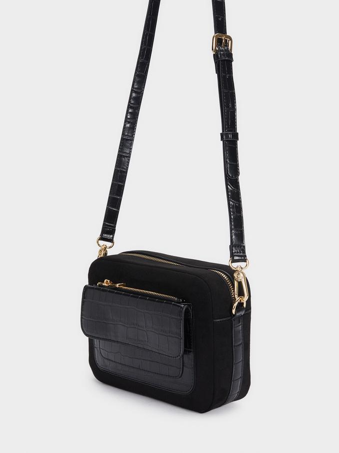 Contrast Crossbody Bag With Detachable Strap, Black, hi-res