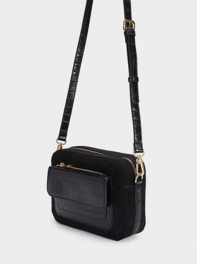Contrast Crossbody Bag With Detachable Strap, Black, hi-res