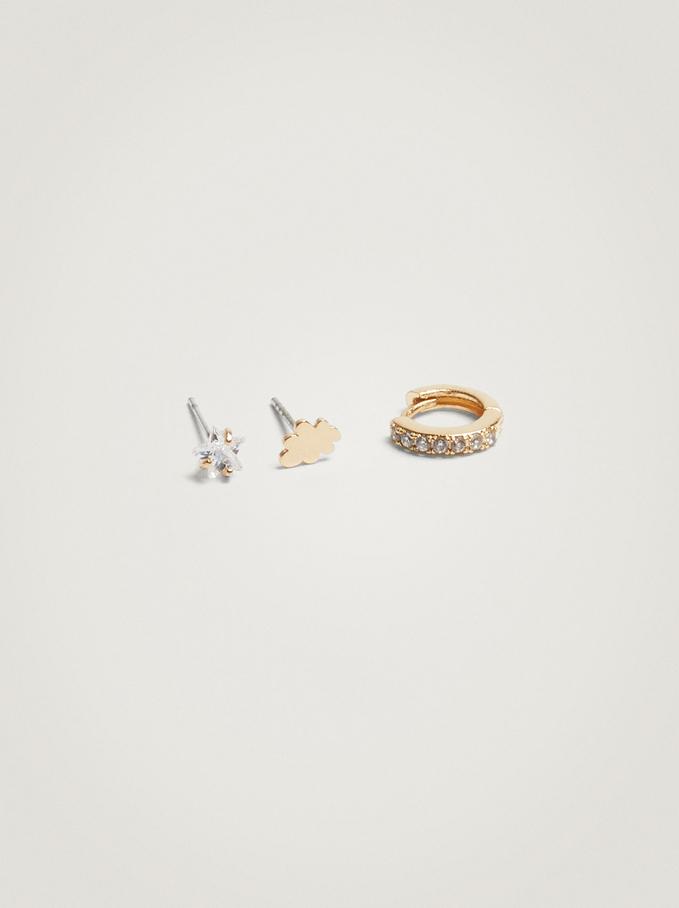 Set Of Hoops With Cubic Zirconia, Golden, hi-res