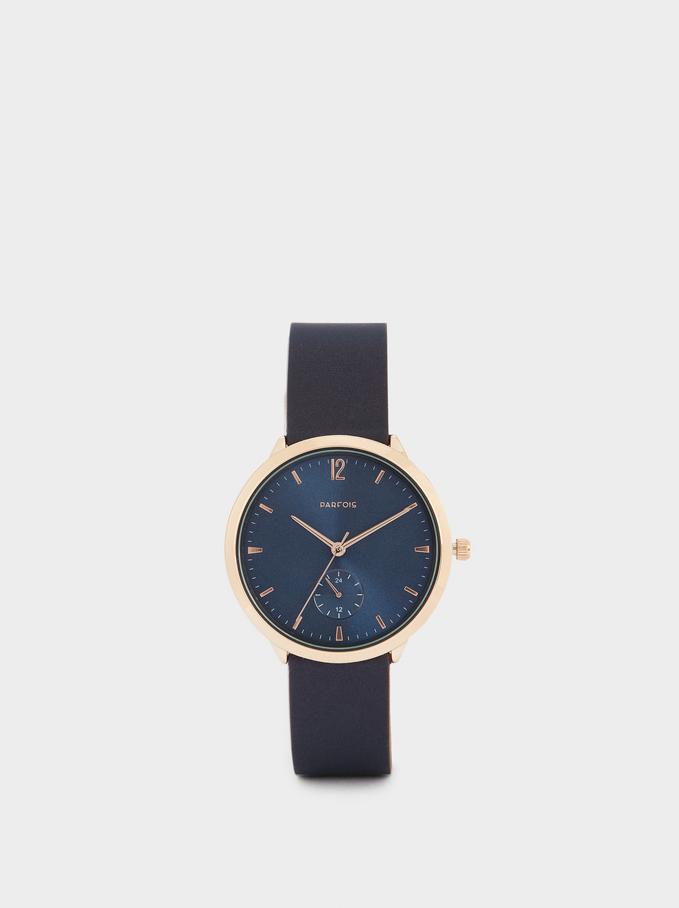 Montre-Bracelet En Silicone Avec Cadran Rond, Bleu Foncé, hi-res