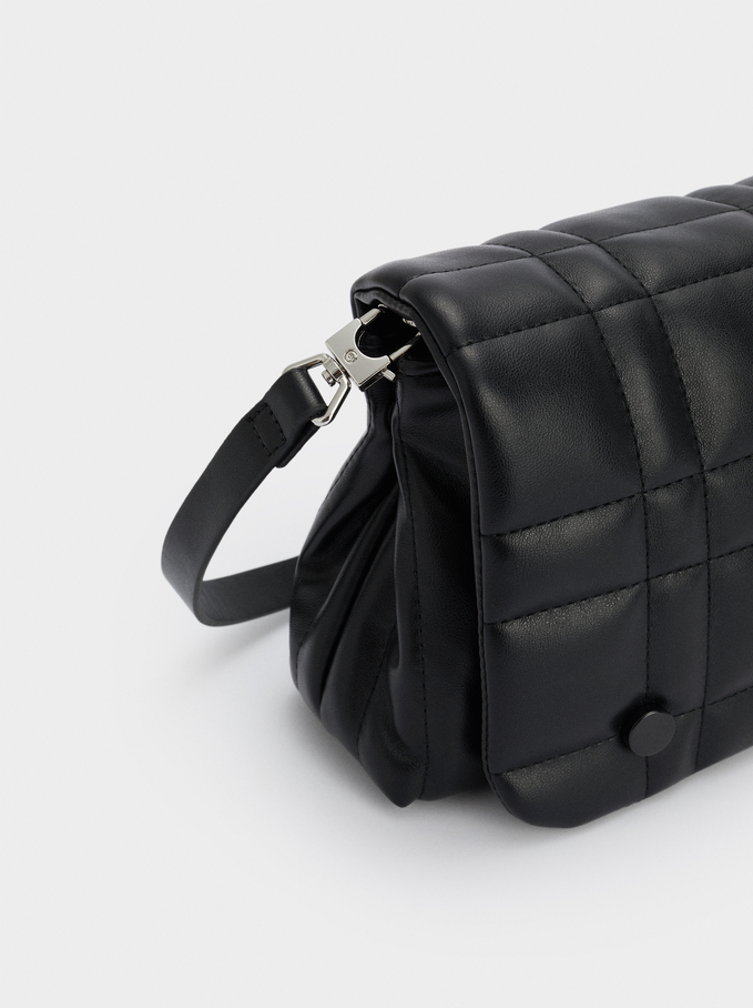 Quilted Crossbody Bag With Adjustable Strap, Black, hi-res