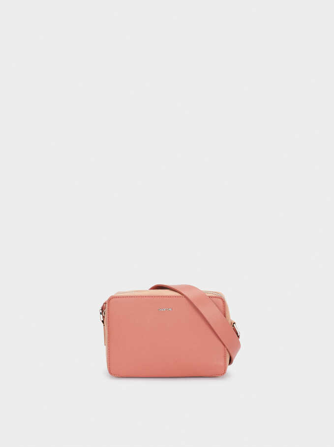 Crossbody Bag With Zip Fastening, Pink, hi-res