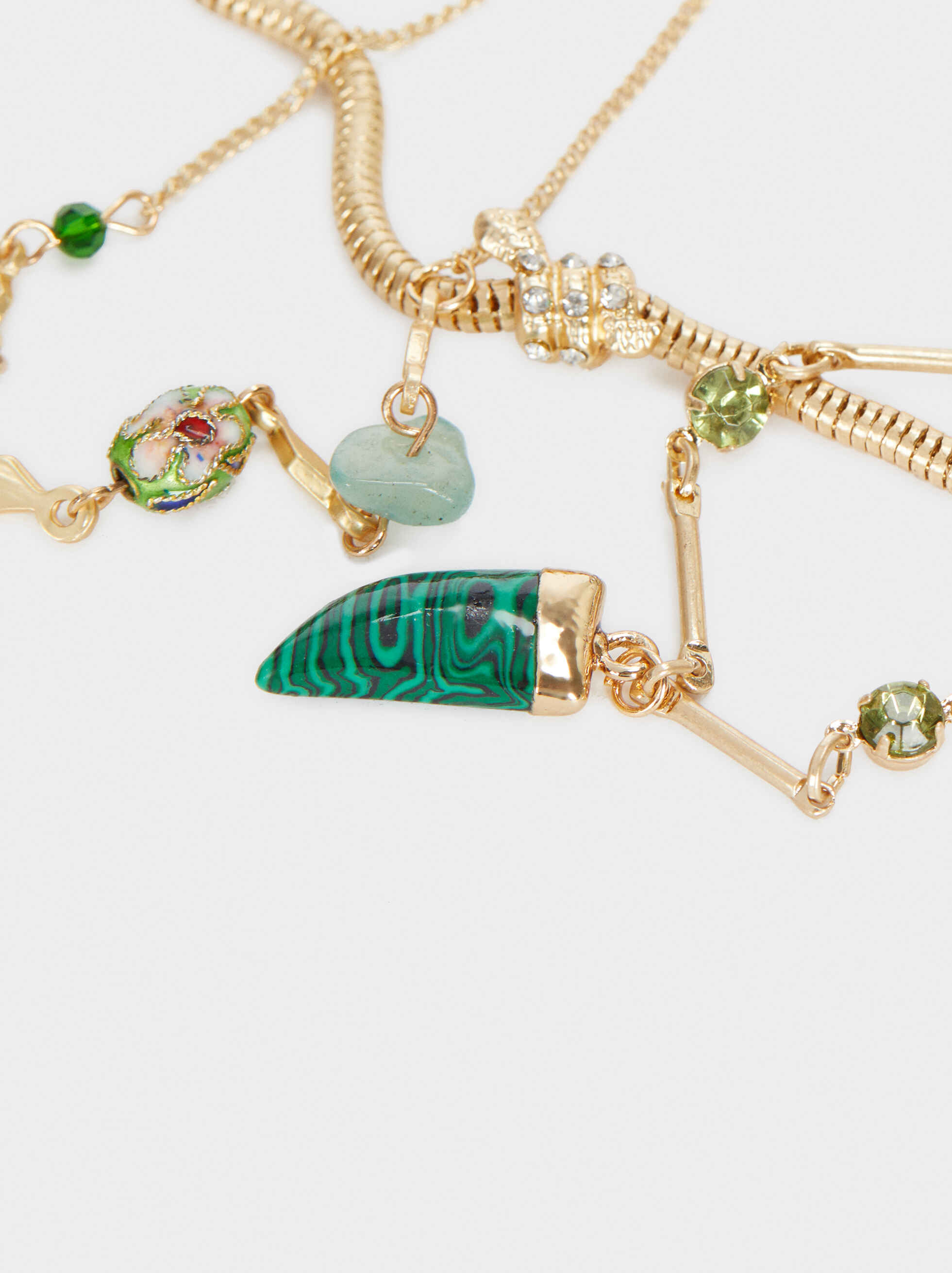 Set Of Gold Bracelets With Stones, Multicolor, hi-res