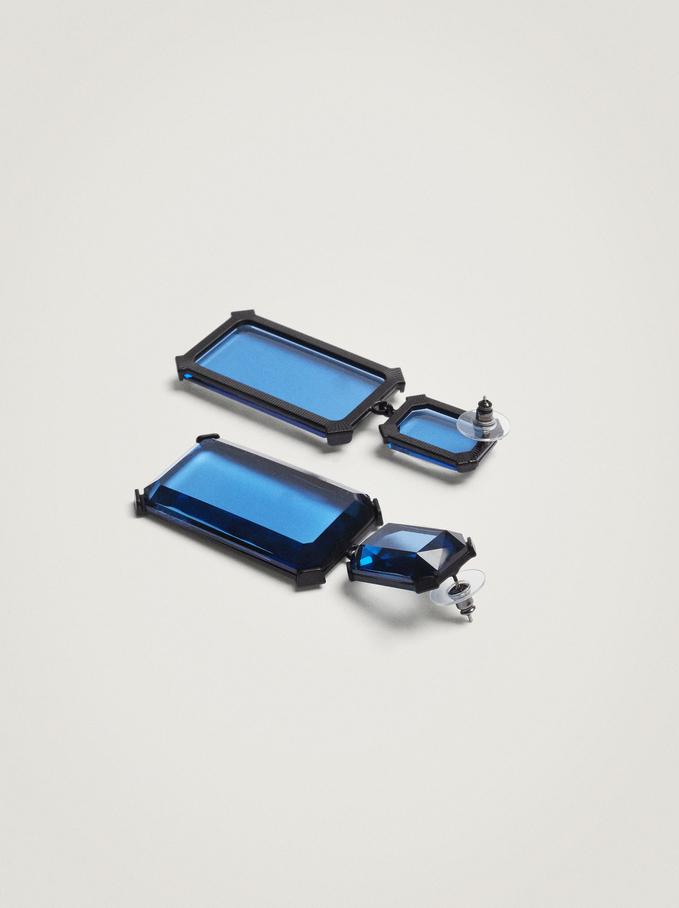 Long Geometric Earrings, Blue, hi-res