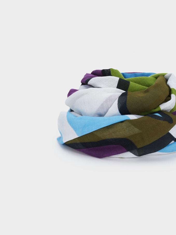 Foulard Imprimé 100% Coton Biologique, Vert, hi-res