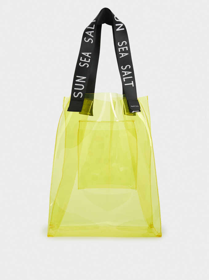 Vinyl-Effect Shoulder Bag, Yellow, hi-res