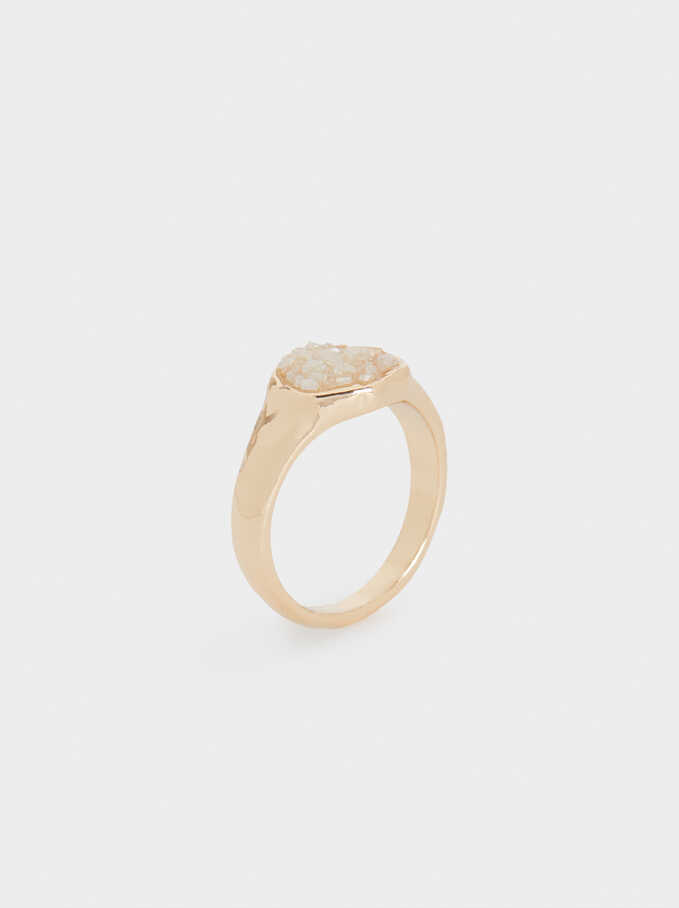 Multicoloured Crystal Ring, Beige, hi-res