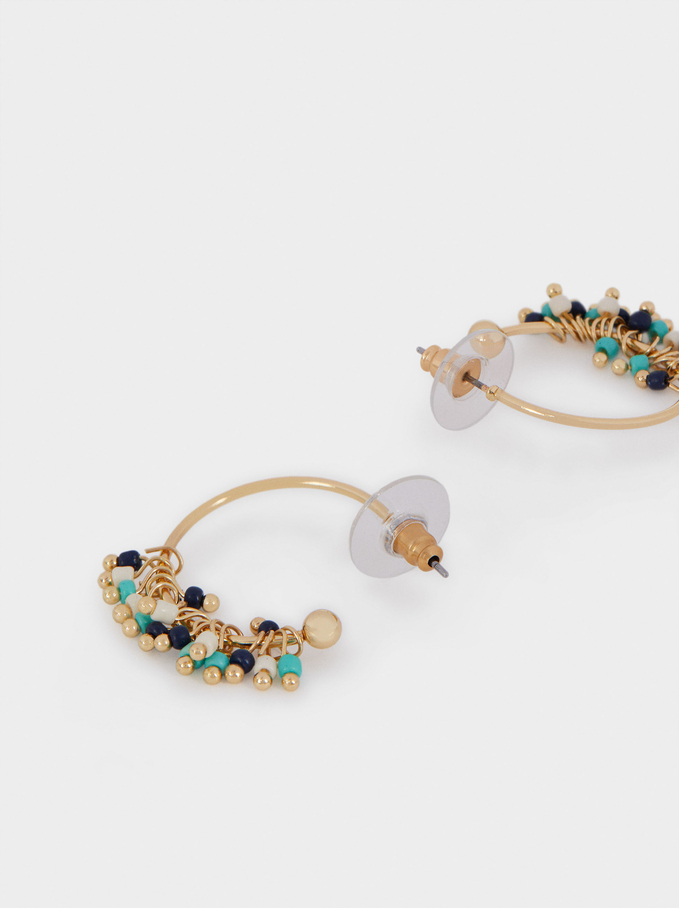 Small Hoop Earrings With Beads, Blue, hi-res
