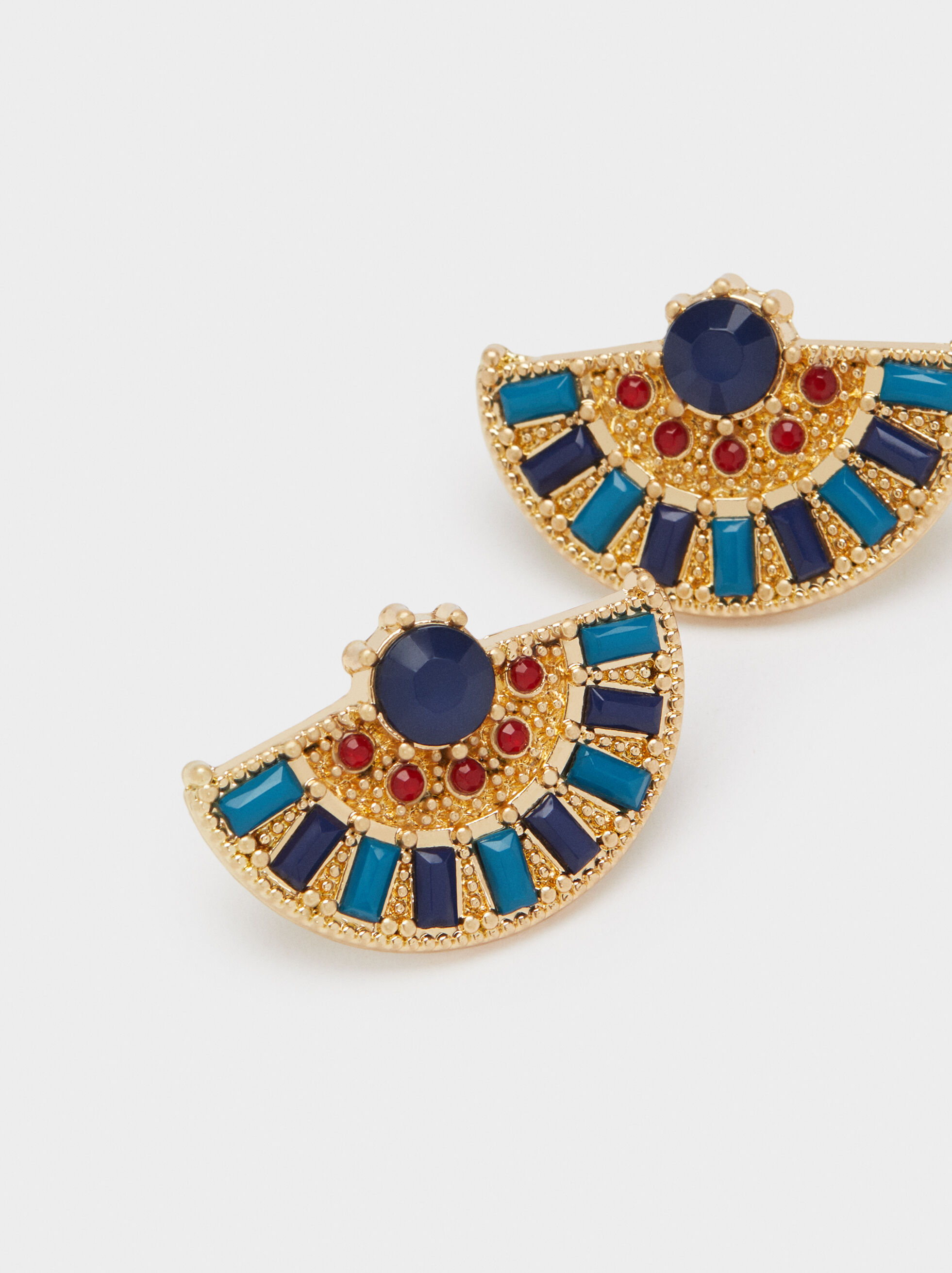 Short Gold Earrings With Gem, Multicolor, hi-res