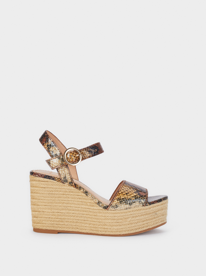 Wedges With Snakeskin Print, Brown, hi-res