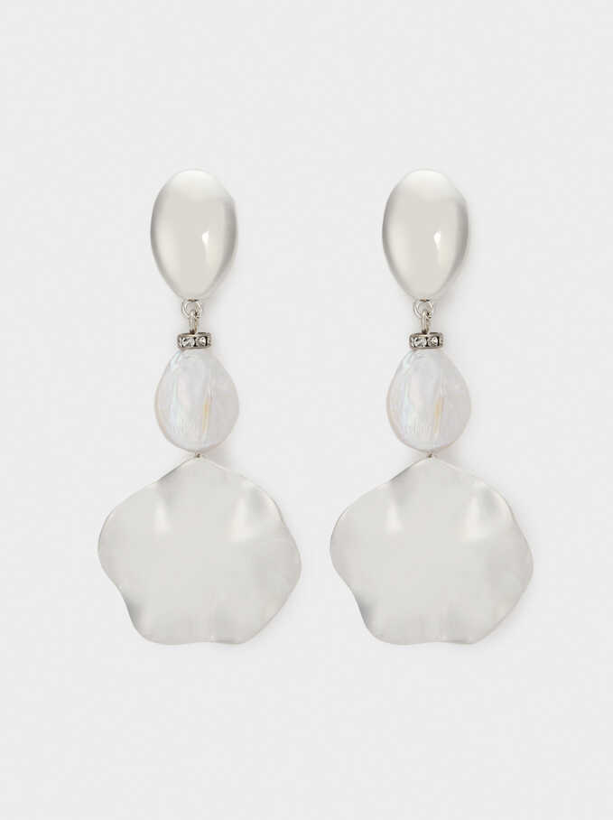 Extra Long Faux Pearl Earrings, Silver, hi-res