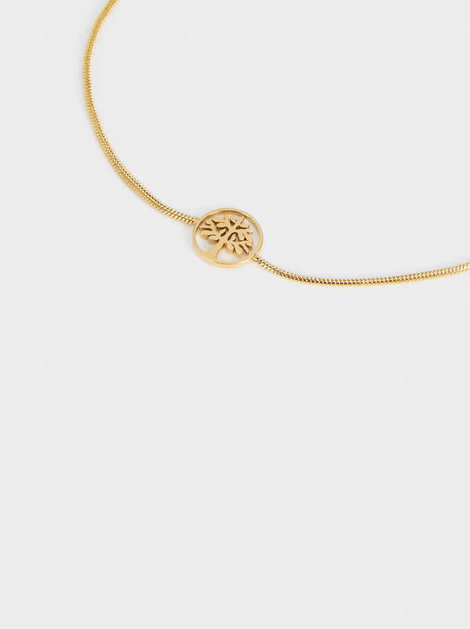 Steel Adjustable Bracelet With Tree, Golden, hi-res