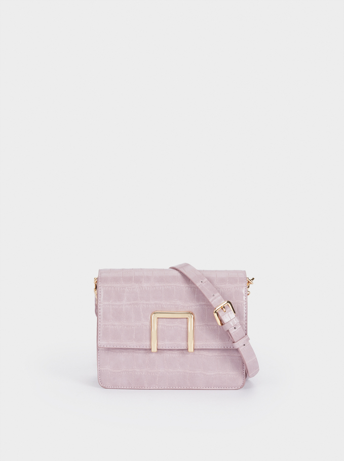 Embossed Crossbody Bag With Removable Strap, Violet, hi-res