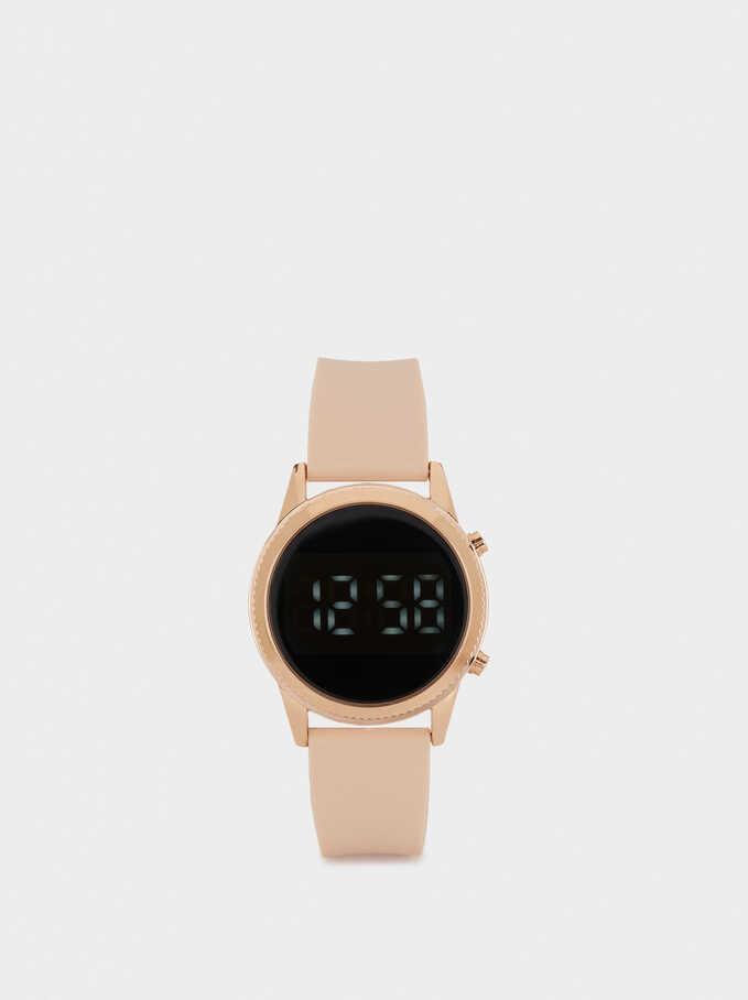 Digital Watch With Interchangeable Straps, Orange, hi-res