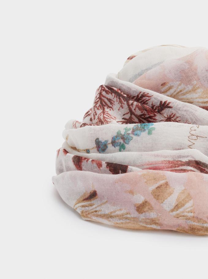 Pañuelo Estampado Fabricado Con Materiales Reciclados, Rosa, hi-res