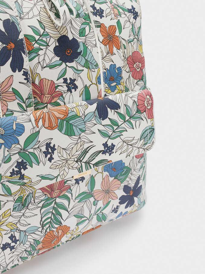 Mochila Estampado Floral Doble Posición, Azul Marino, hi-res