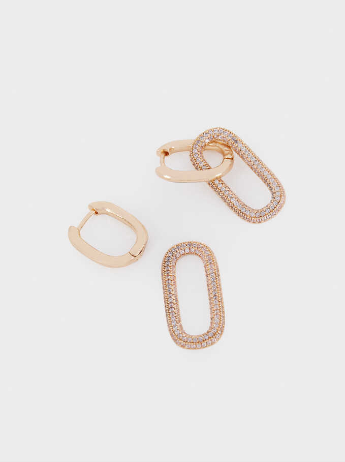 Short Hoop Earrings With Zirconia, Golden, hi-res