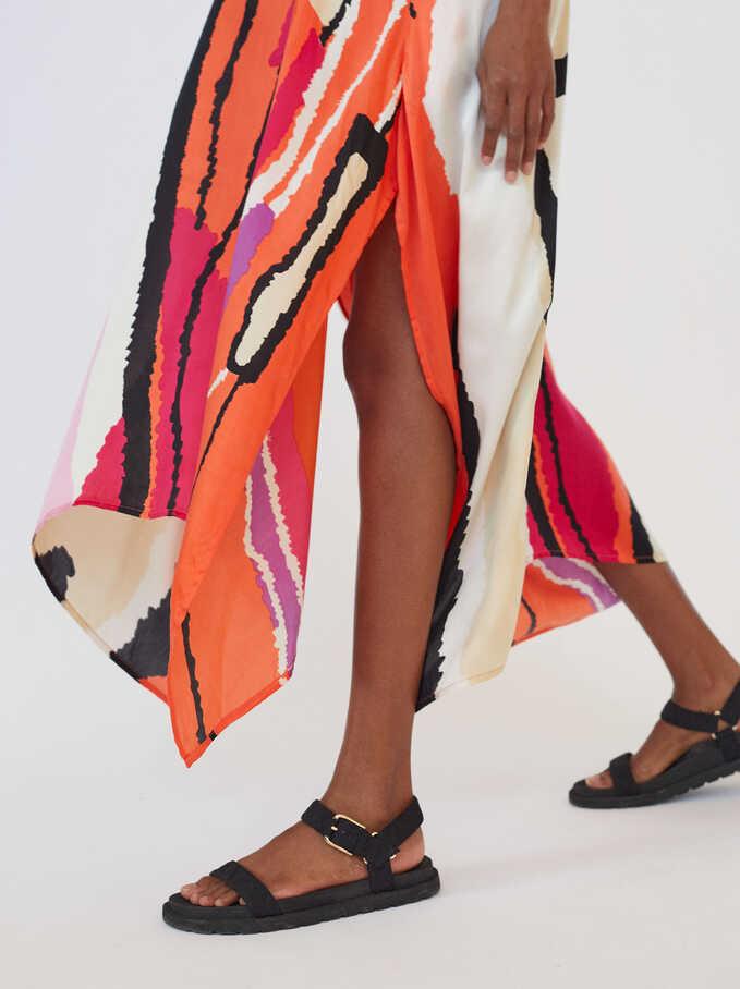 Printed Dress With Straps, Orange, hi-res
