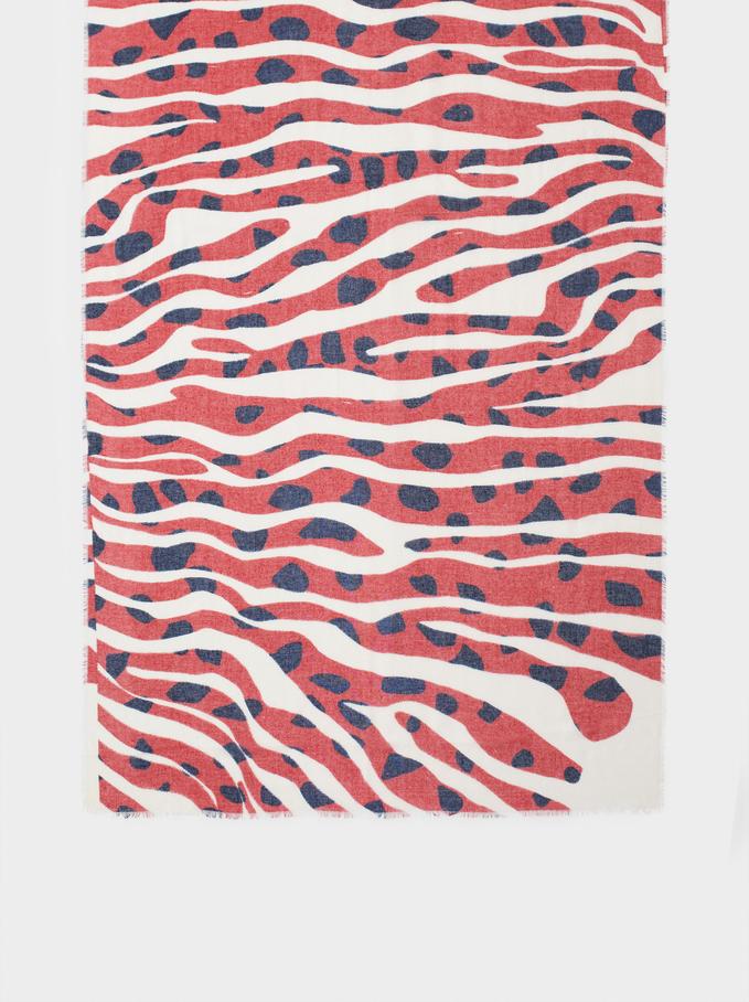 Printed Scarf, Red, hi-res