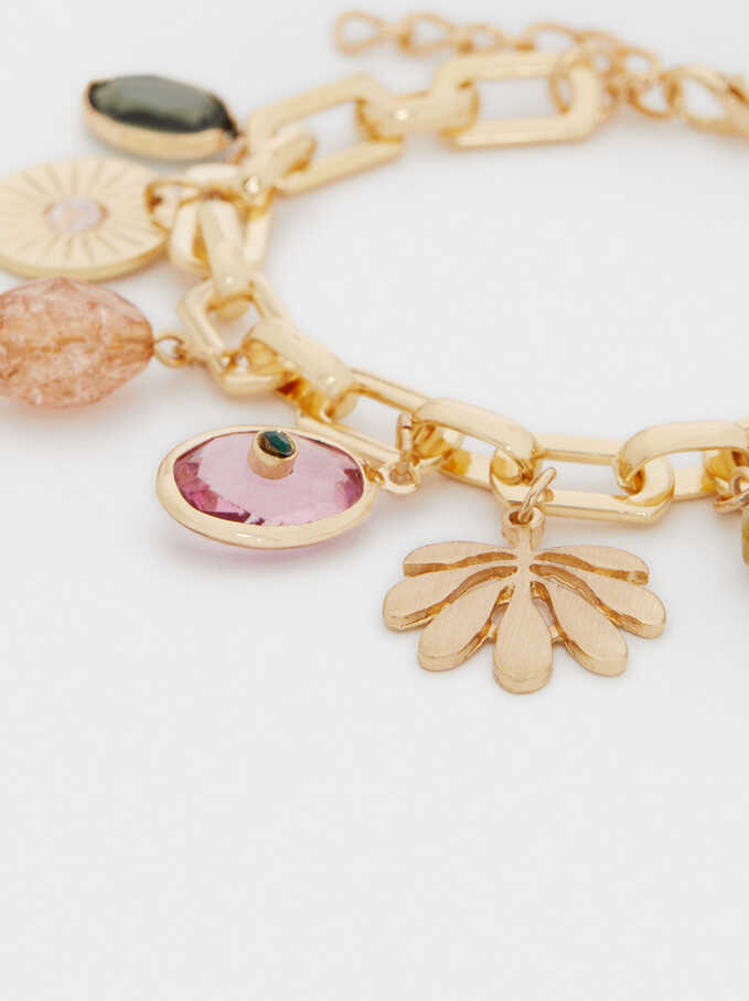 Stone And Charms Bracelet, Golden, hi-res