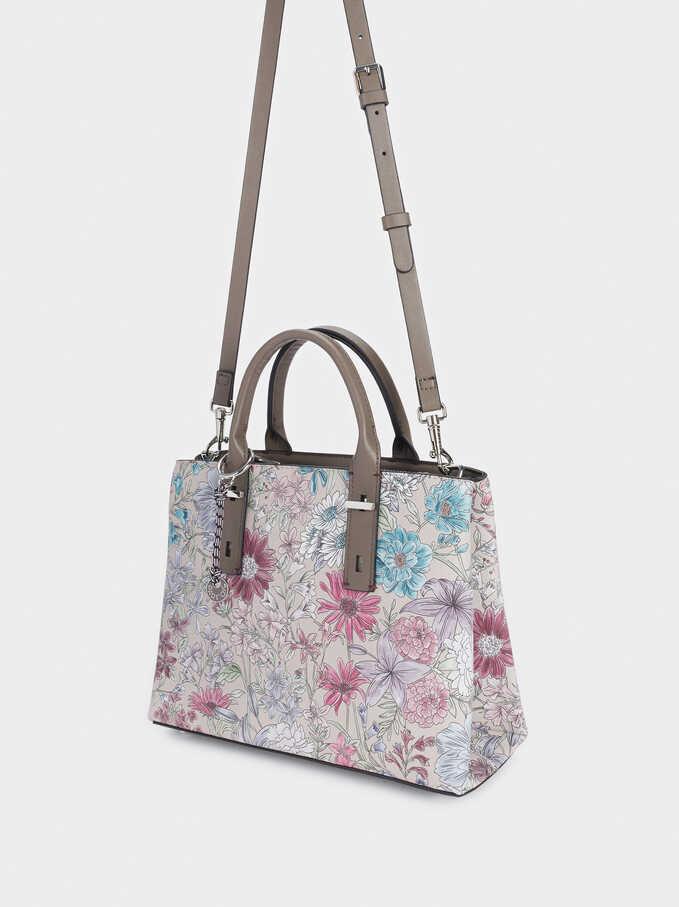 Floral Print Tote Bag With Charm, Brown, hi-res