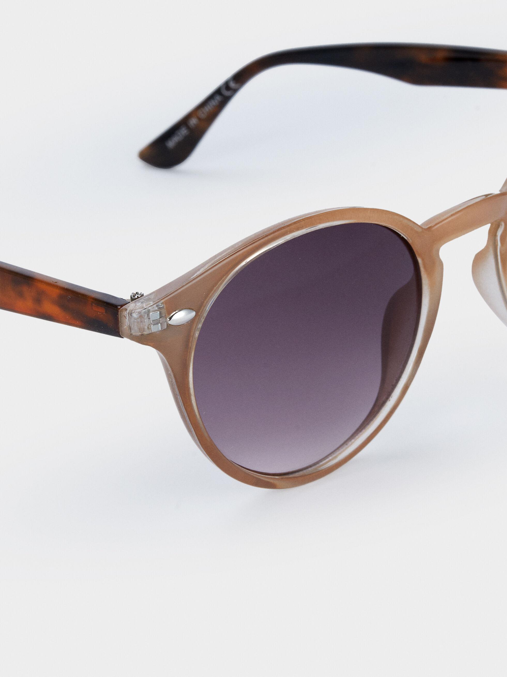 Round Frame Plastic Sunglasses, Brown, hi-res