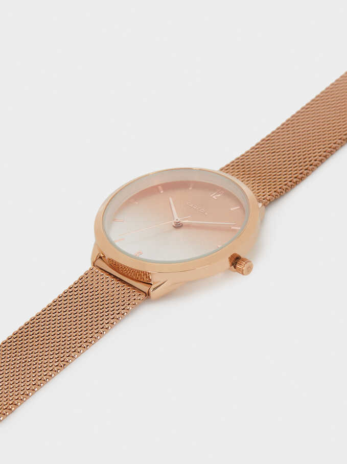 Watch With Mesh Strap, Orange, hi-res
