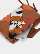 Patchwork Design Purse With Wrist Strap, Camel, hi-res