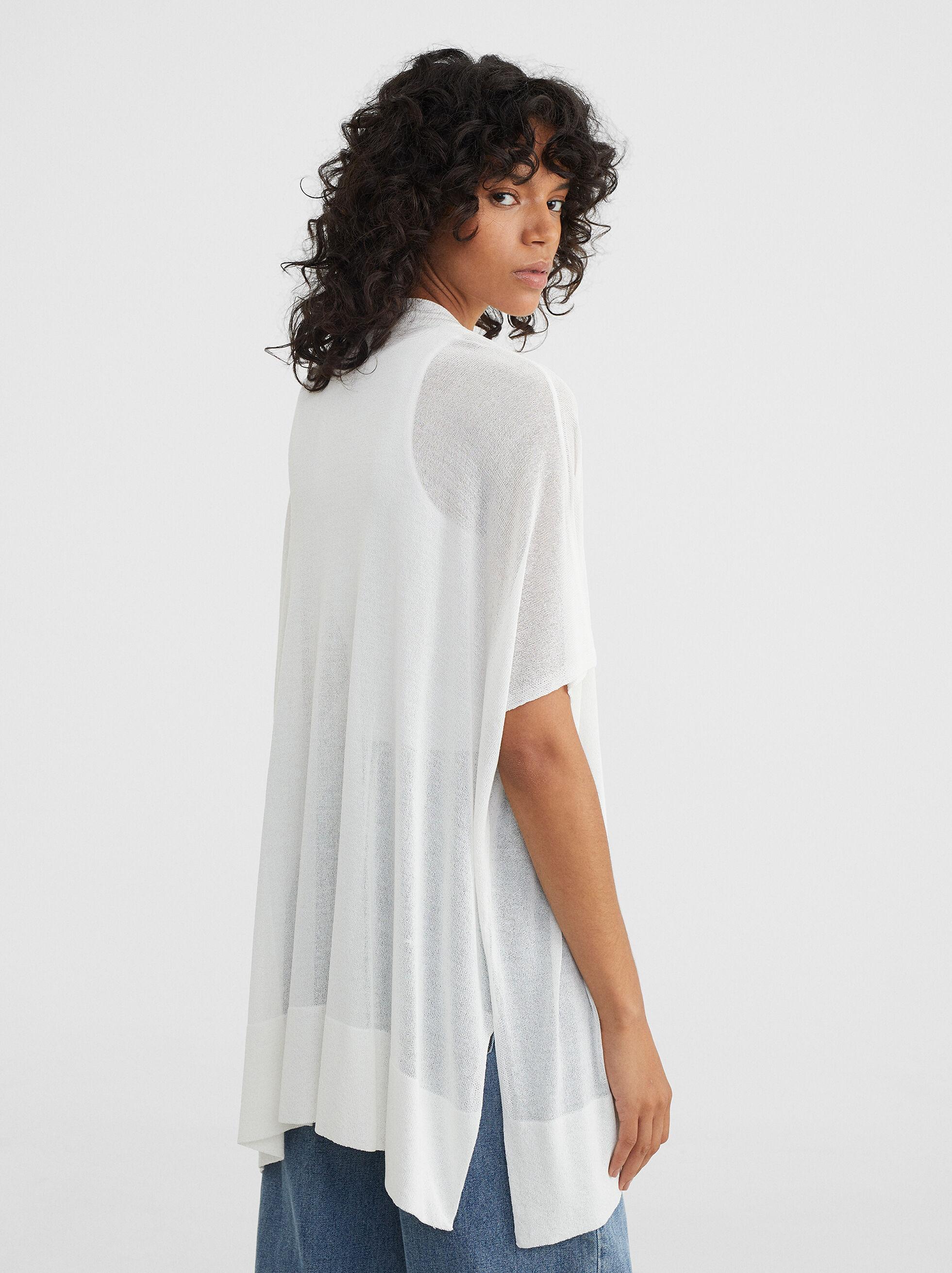 Knitted Open Kimono , White, hi-res