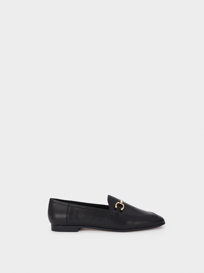 Loafers With Metal Detail, Black, hi-res