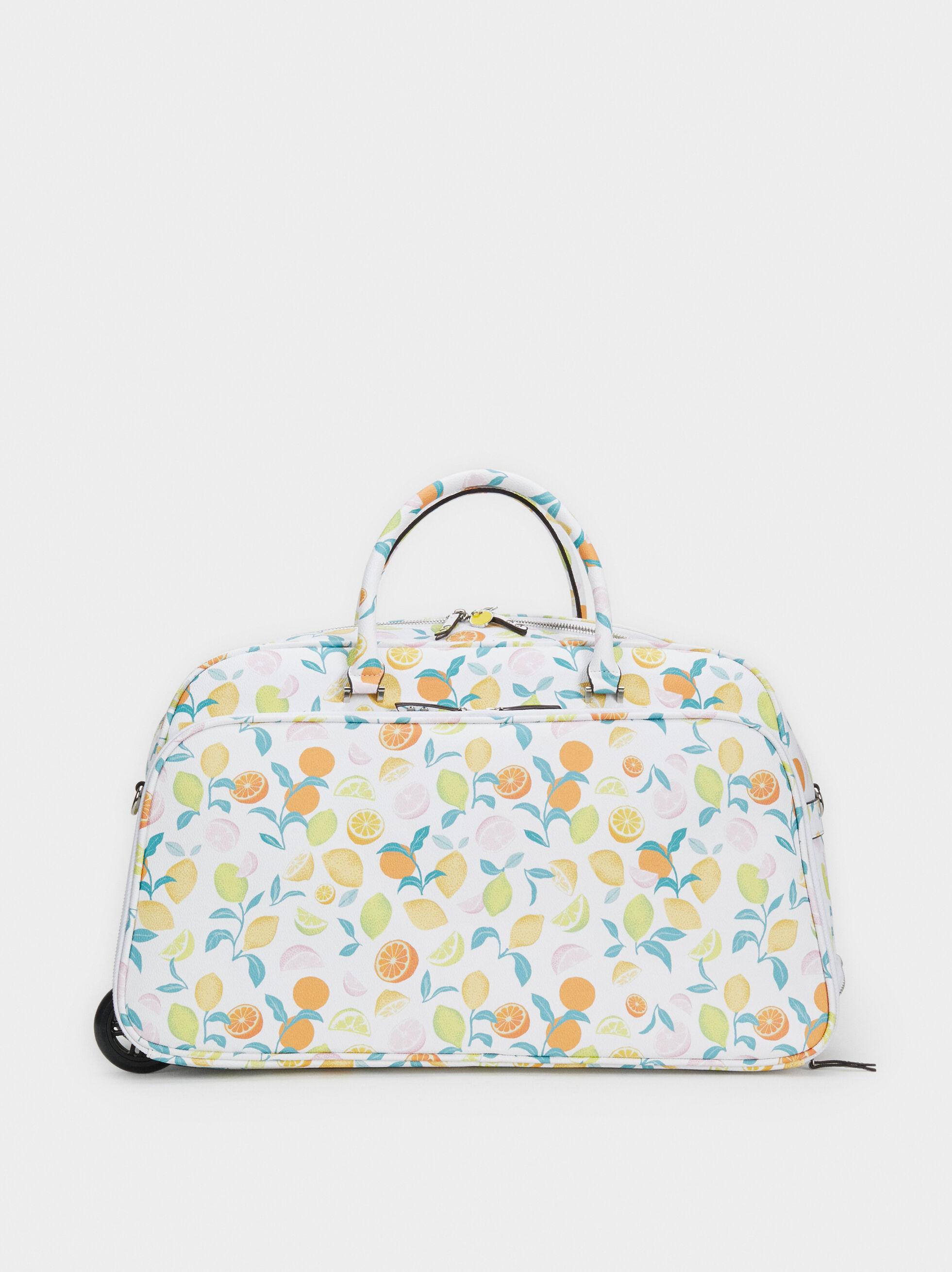 Fruit Print Travel Bag, Orange, hi-res