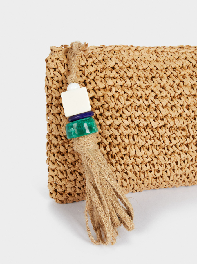 Braided Handbag, Beige, hi-res