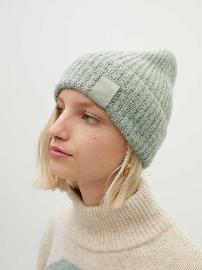 Knitted Turn-Up Hat, Green, hi-res