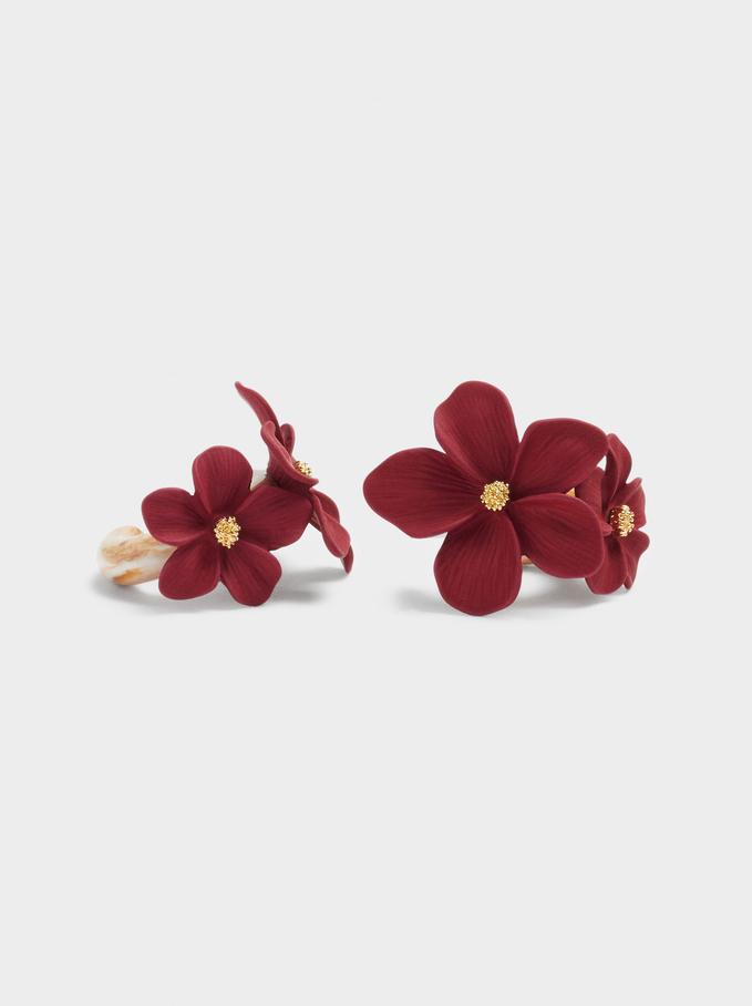 Pendientes De Aro Con Flores, Multicor, hi-res