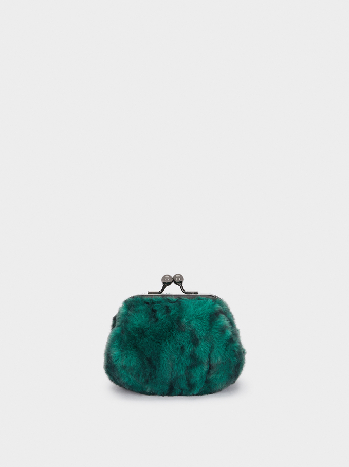 Faux Fur Purse With Clasp Fastening, Green, hi-res