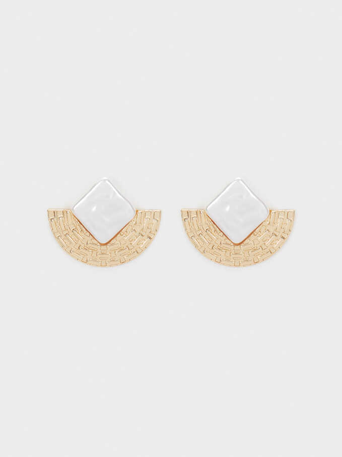 Short Gold-Toned Metal Earrings, Golden, hi-res