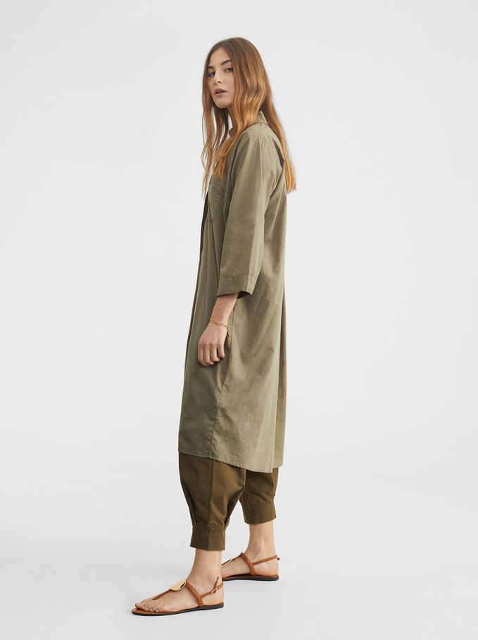Shirt Dress With Pocket, Khaki, hi-res