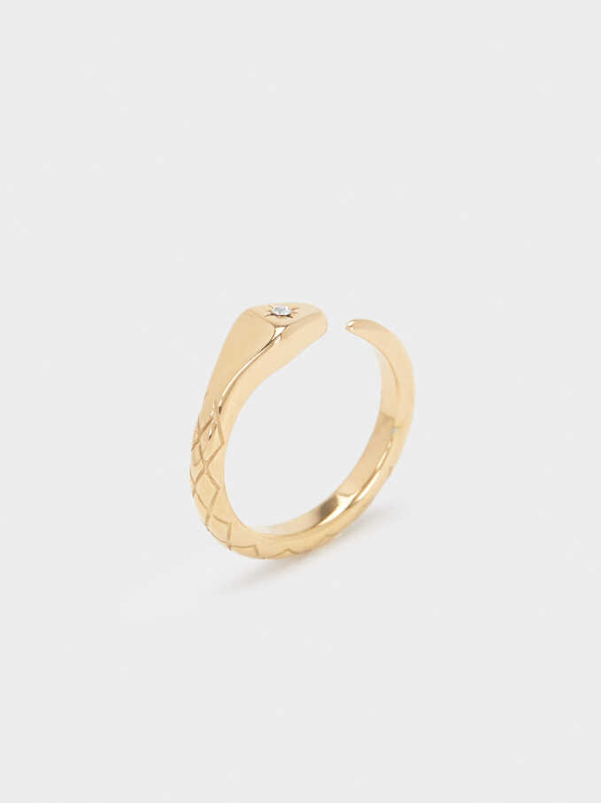 Stainless Steel Snake Ring, Golden, hi-res