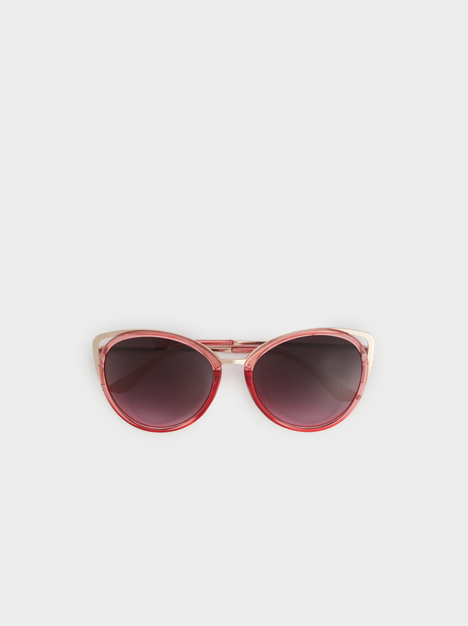 Metal Detail Sunglasses, Pink, hi-res