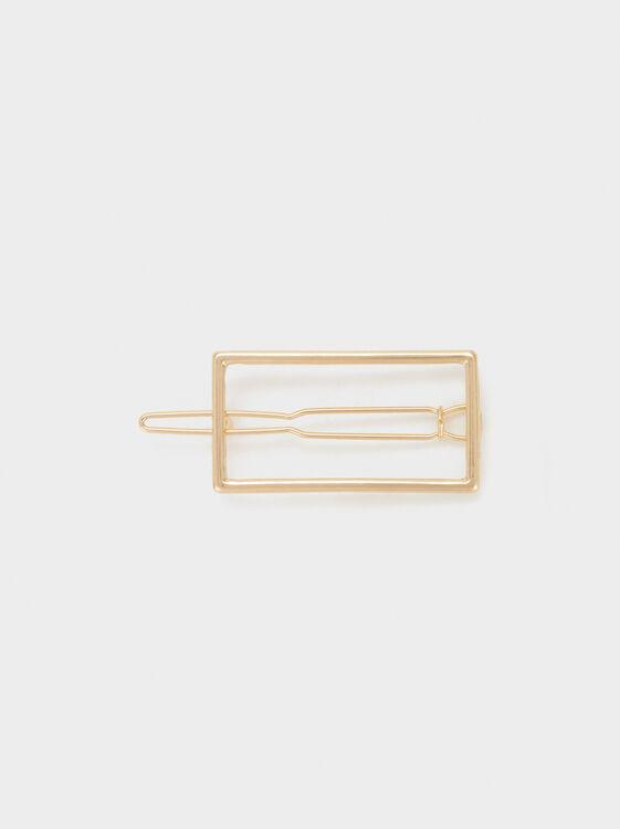 Rectangular Hairclip, Golden, hi-res