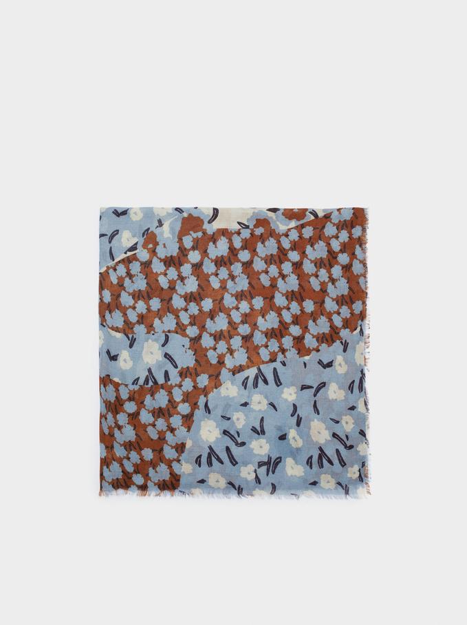 Foulard Imprimé Floral, Bleu, hi-res