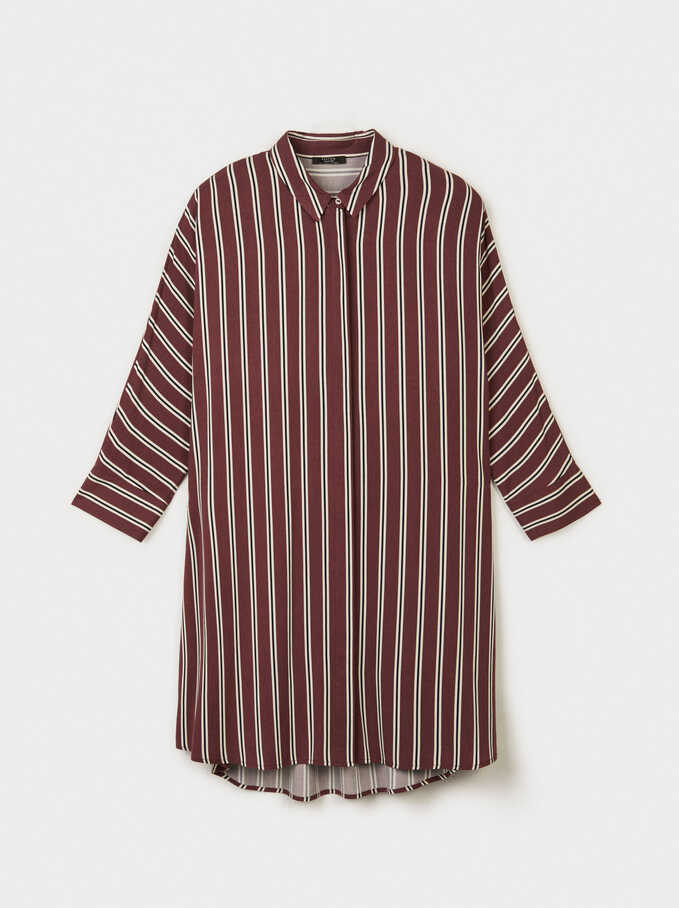Stripes Dress, Bordeaux, hi-res