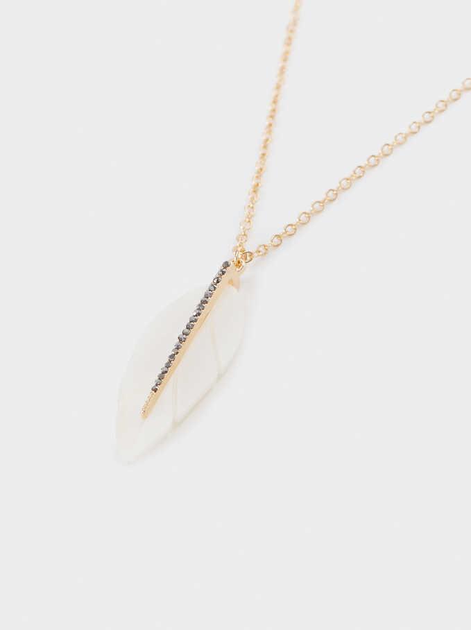 Short Leaf Necklace, Golden, hi-res