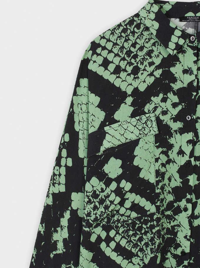 Camisa Fluida Estampado Serpiente, Verde, hi-res