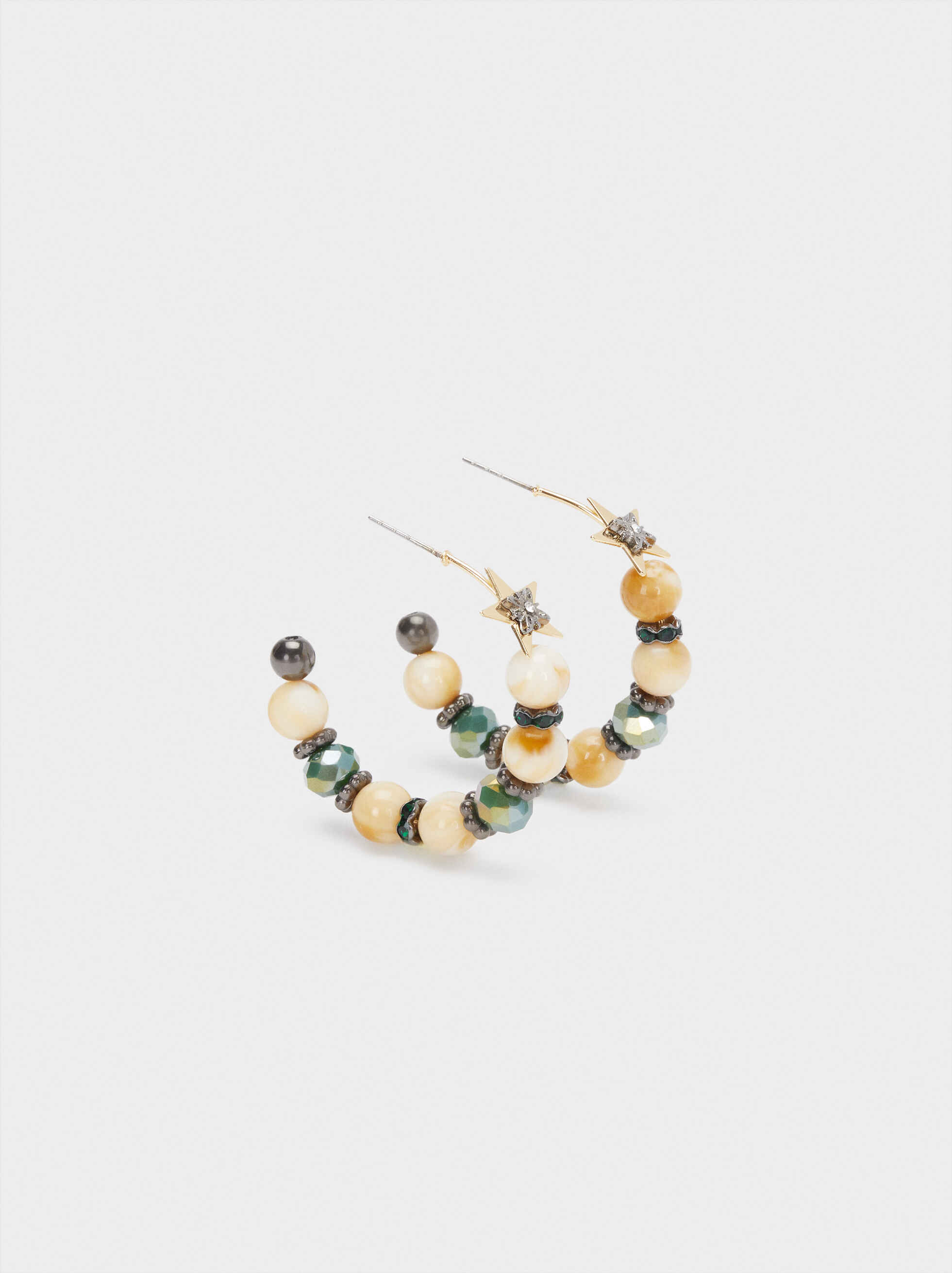 Medium Hoop Earrings With Multicoloured Stars And Crystals, Multicolor, hi-res