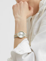 Watch With Two-Toned Metal Strap, Silver, hi-res