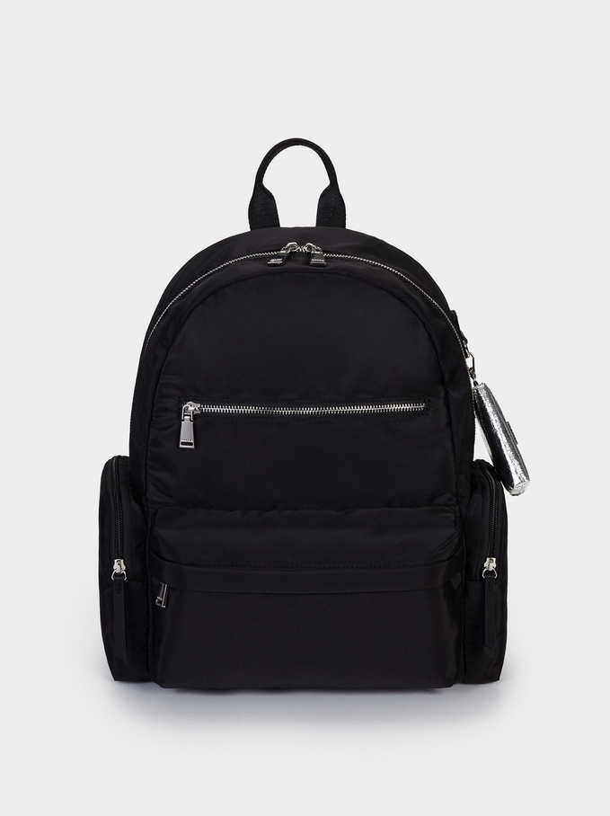 "Nylon Backpack For 13"" Laptop, Black, hi-res"