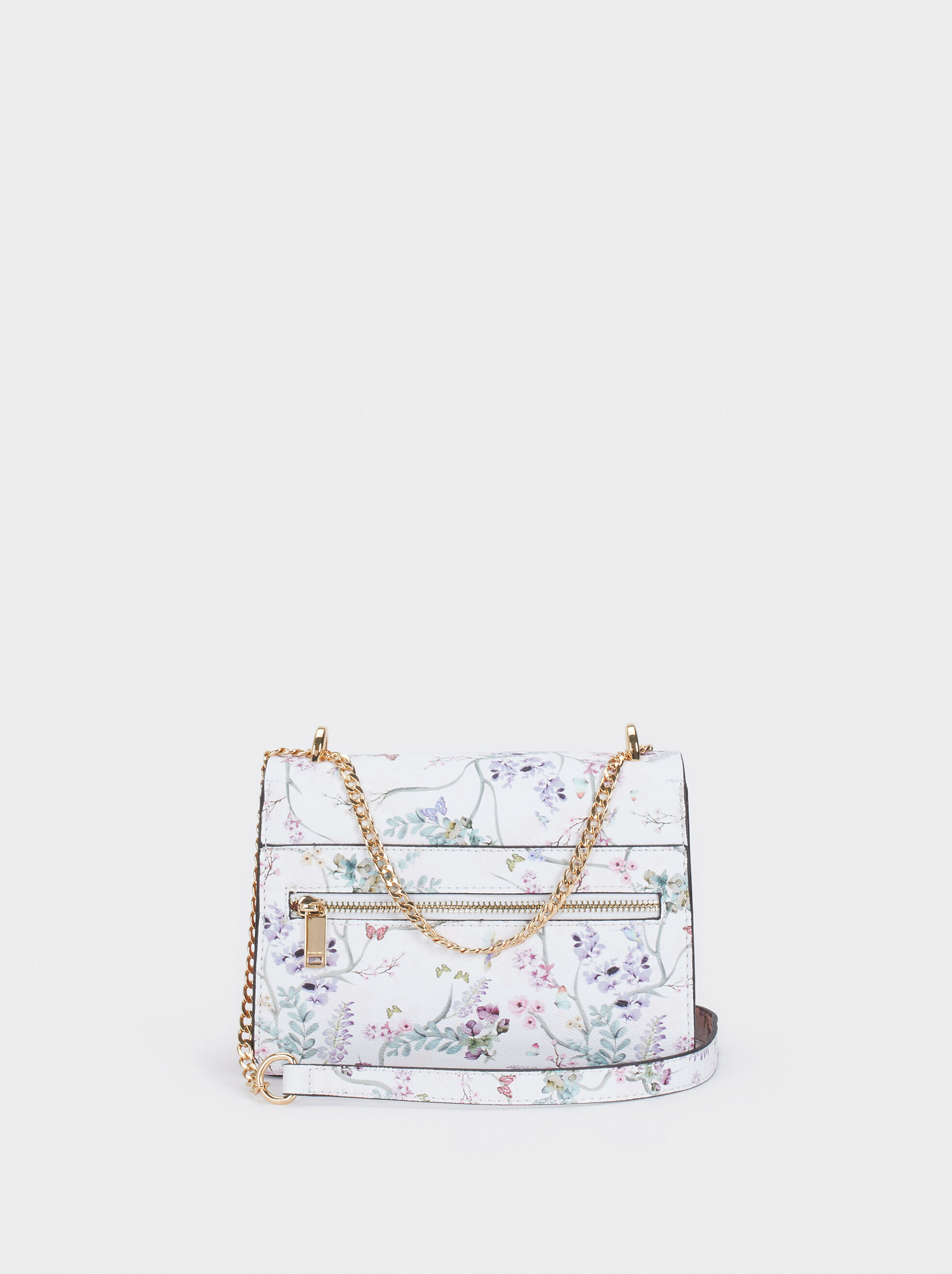 Floral Print Crossbody Bag With Front Flap Fastening