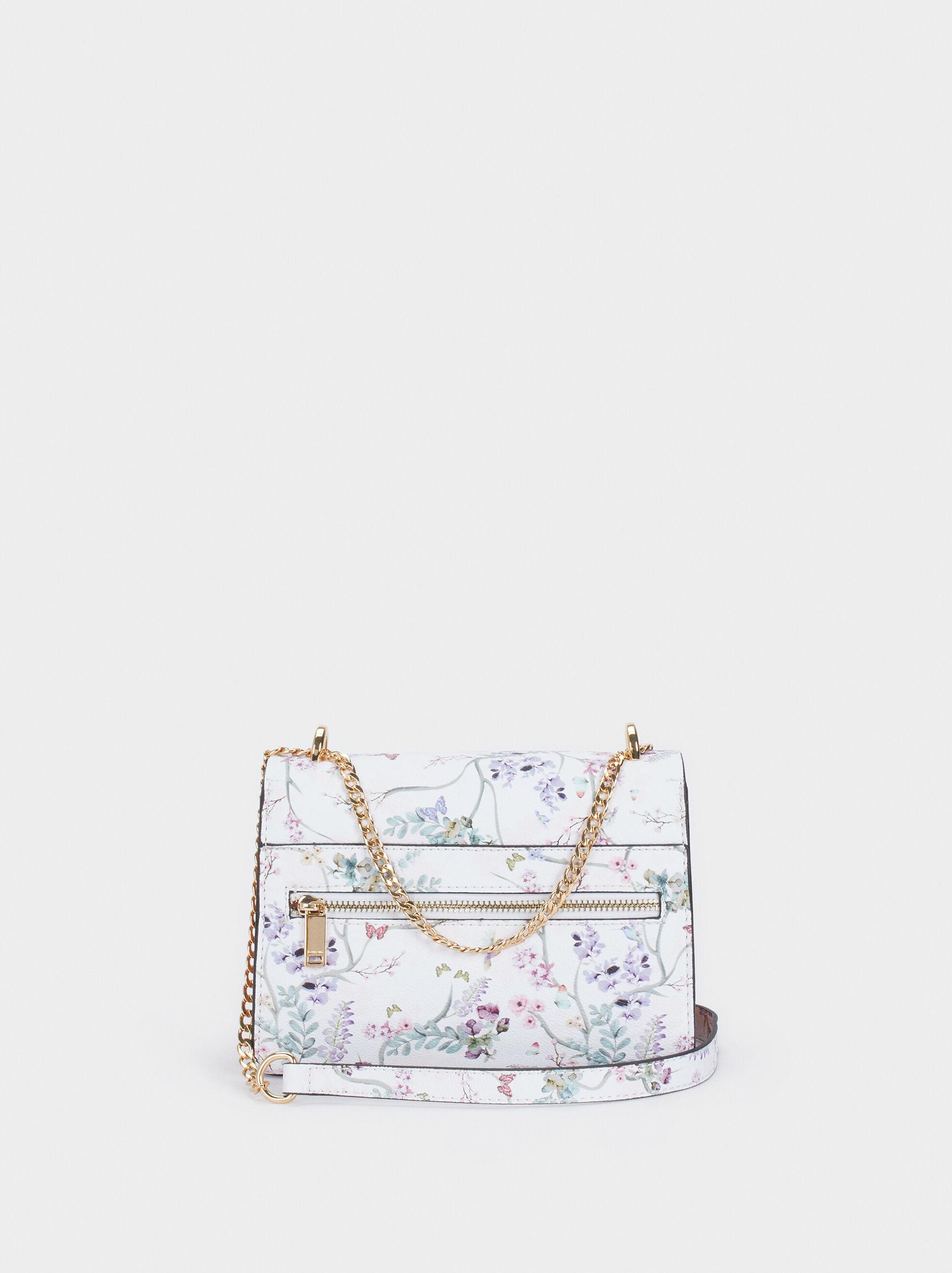Floral Print Crossbody Bag With Front Flap Fasteni, Violet, hi-res